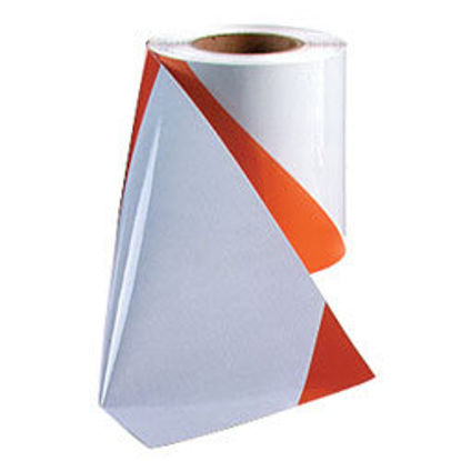 Picture of 3M™ Flexible Prismatic Reflective Barricade Sheeting 3336L Orange/White, 7 3/4 in x 50 yd