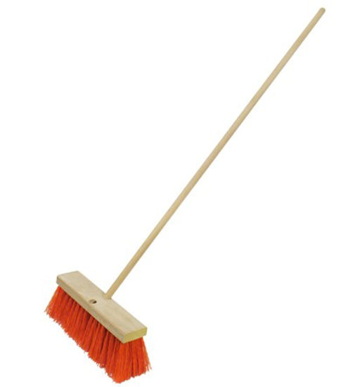 "Picture of Kraft Tool Co.® - 18"" Heavy Duty Orange Sweeping Broom With Handle"