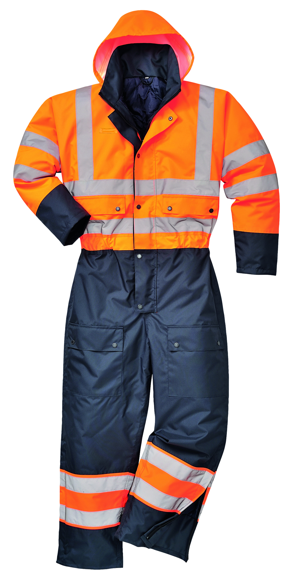 Picture of Portwest Hi Visibility Contrast Coverall Orange/Navy