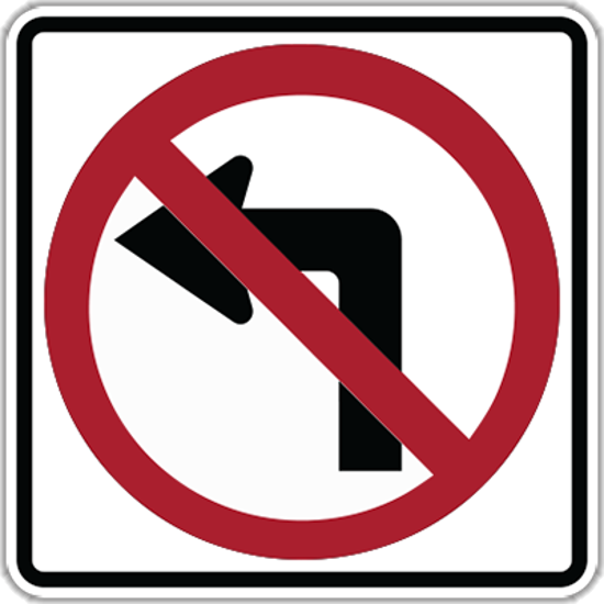 Picture of R3-2NO LEFT TURN (Symbol) Aluminum Diamond Grade