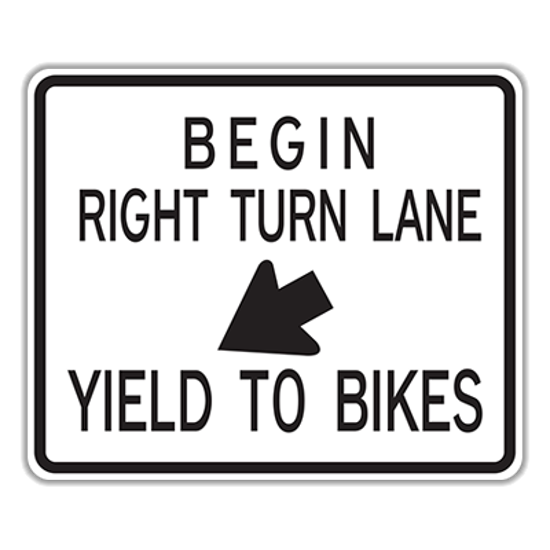 Picture of R4-4 BEGIN RIGHT TURN LANE YIELD TO BIKES Sign Aluminum Diamond Grade