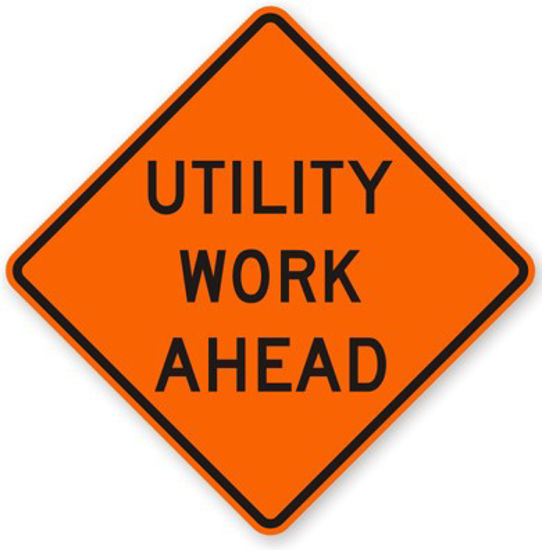 Picture of W21-7 UTILITY WORK AHEAD Sign Diamond Grade