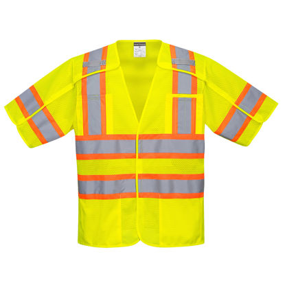 Picture of Portwest Class 3 Hi Vis Kobuk Breakaway Vest Mesh Yellow