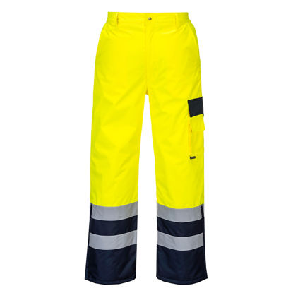Picture of Portwest Class E Hi Vis Pants Lined Yellow Navy