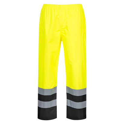 Picture of Portwest Class E Hi Vis Pants Waterproof Yellow Navy