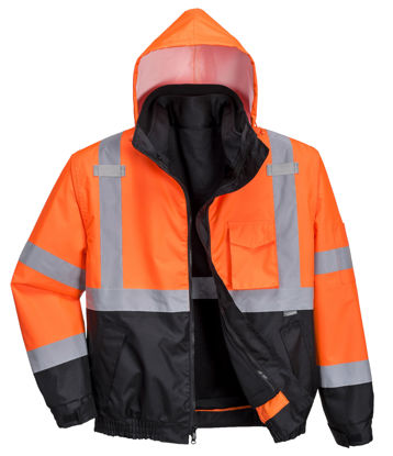 Picture of Portwest - Hi-Vis Premium 3-in-1 Bomber Collection Orange/Black