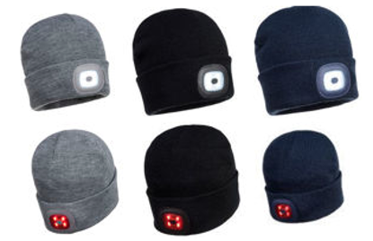 Picture of Portwest Beanie / Hat With Rechargeable Twin LED Light