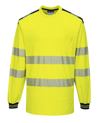 Picture of Portwest   PW3 Hi-Vis Long Sleeve T-Shirt Yellow/Black