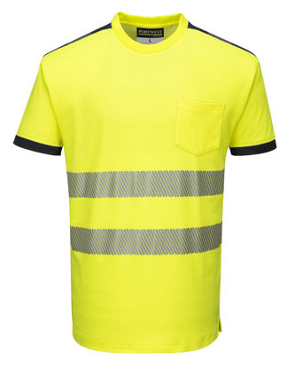 Picture of Portwest  PW3 Hi-Vis Short Sleeve T-Shirt Yellow/Black